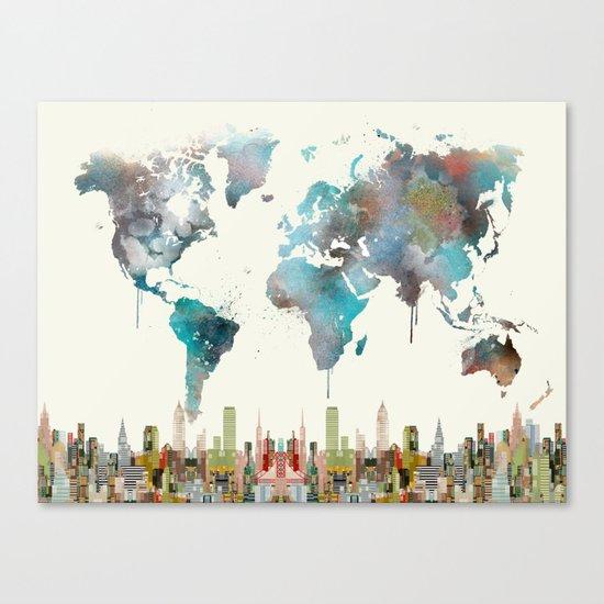 world travel map Canvas Print