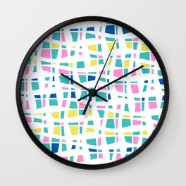 Colorful Preppy Abstract Line Art Wall Clock