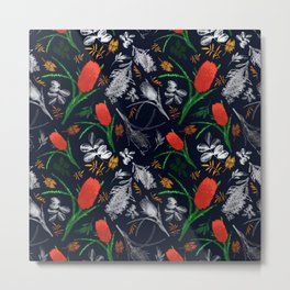 Banksia and Grevillea Pattern Metal Print