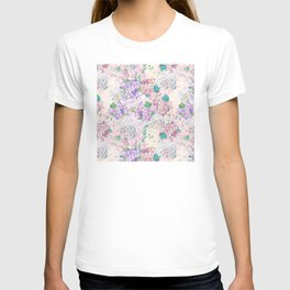 Pastel Purple and blue Lilac & Hydrangea - Flower Design T-shirt