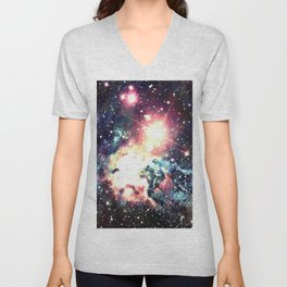 Fox Fur Nebula : Deep Pastels Galaxy Unisex V-Neck