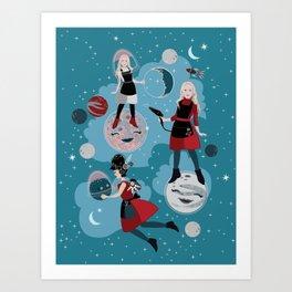 Cosmic Hairdresser Moon Landing Art Print