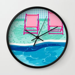 Vay-K - abstract memphis throwback poolside swim team palm springs vacation socal pool hang Wall Clock