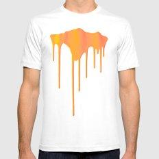 Orange Splatter MEDIUM Mens Fitted Tee White