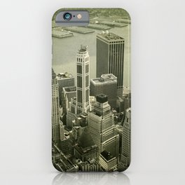 An old day in New York city. Skyline View of Financial District iPhone Case