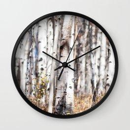 Aspen Trees In Autumn Wall Clock