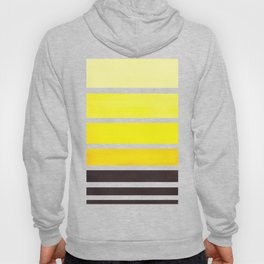 Yellow Minimalist Watercolor Mid Century Staggered Stripes Rothko Color Block Geometric Art Hoody