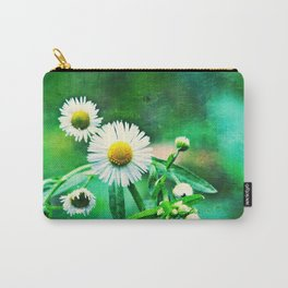 Asters on Green Velvet Carry-All Pouch