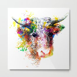 Hand drawn bull, cow, bison, buffalo head face portrait with horns. Colorful cattle painting sketch Metal Print