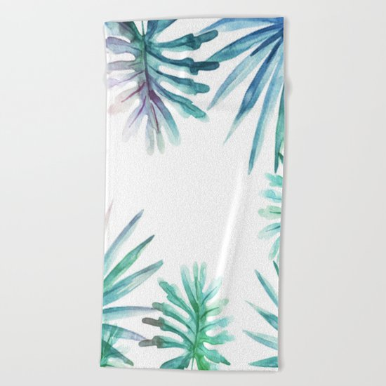 Watercolor botanical leaves Beach Towel