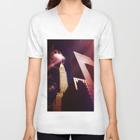nyc V-neck T-shirts featuring NYC by Vivienne Gucwa
