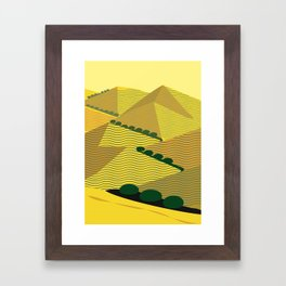 California Hills and Oaks in Yellow Ochre Framed Art Print