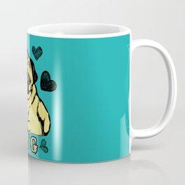 Adorable Puppy Pug on teal with hearts Coffee Mug