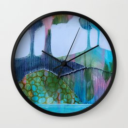 Day 13 In The Woods, Contemporary Abstract Landscape Wall Clock