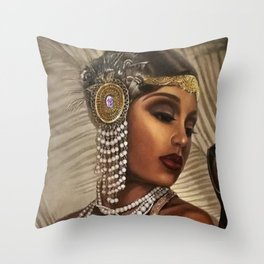African American Masterpiece 'Cotton Club Flapper Dance Girl' Portrait Painting Throw Pillow