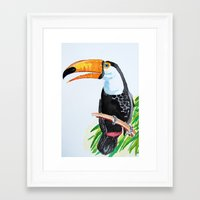 toucan Framed Art Prints featuring Toucan by The Traveling Catburys
