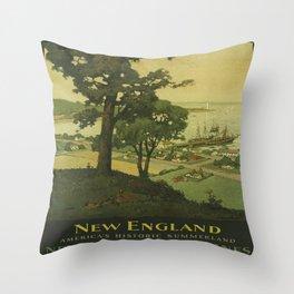 Vintage poster - New England Throw Pillow
