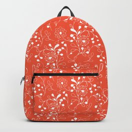 White doodle flowers on red Backpack