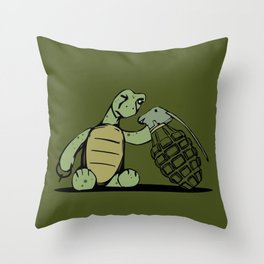 Turtle and The Bomb Throw Pillow