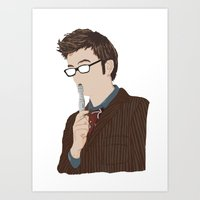 david tennant Art Prints featuring Doctor Who David Tennant by  Steve Wade ( Swade)