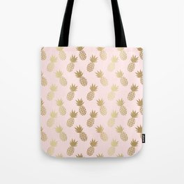 Pink & Gold Pineapples Tote Bag