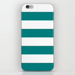 Wide Horizontal Stripes - White and Dark Cyan iPhone Skin