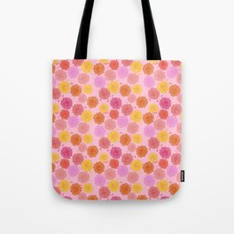 Hibiscus Hawaiian Flowers in Pinks and Corals on Pink Tote Bag