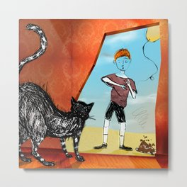 the boy and the cat Metal Print