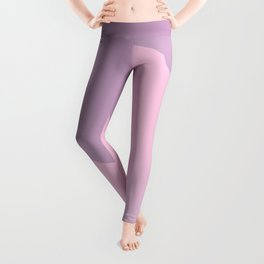 Pretty Pastel Pink and Purple Diagonal Color Block Leggings