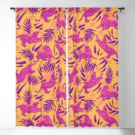 Tigers and Bamboos in Pink and Yellow Blackout Curtain
