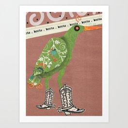 Birds Wearing Clothes: Boots Art Print