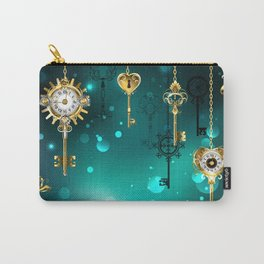 Antique Keys on Green Background ( Steampunk ) Carry-All Pouch