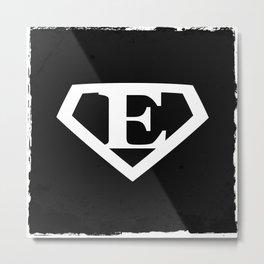 White Letter E Symbol Metal Print