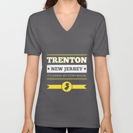 trenton new jersey its where my story begins american t-shirts Unisex V-Neck