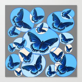 ABSTRACT MODERN ART CIRCLE PATTERNED  BLUE BUTTERFLY FLOCK Canvas Print