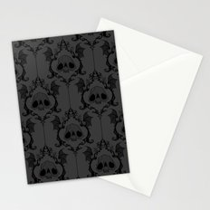 Halloween Damask Grey Stationery Cards