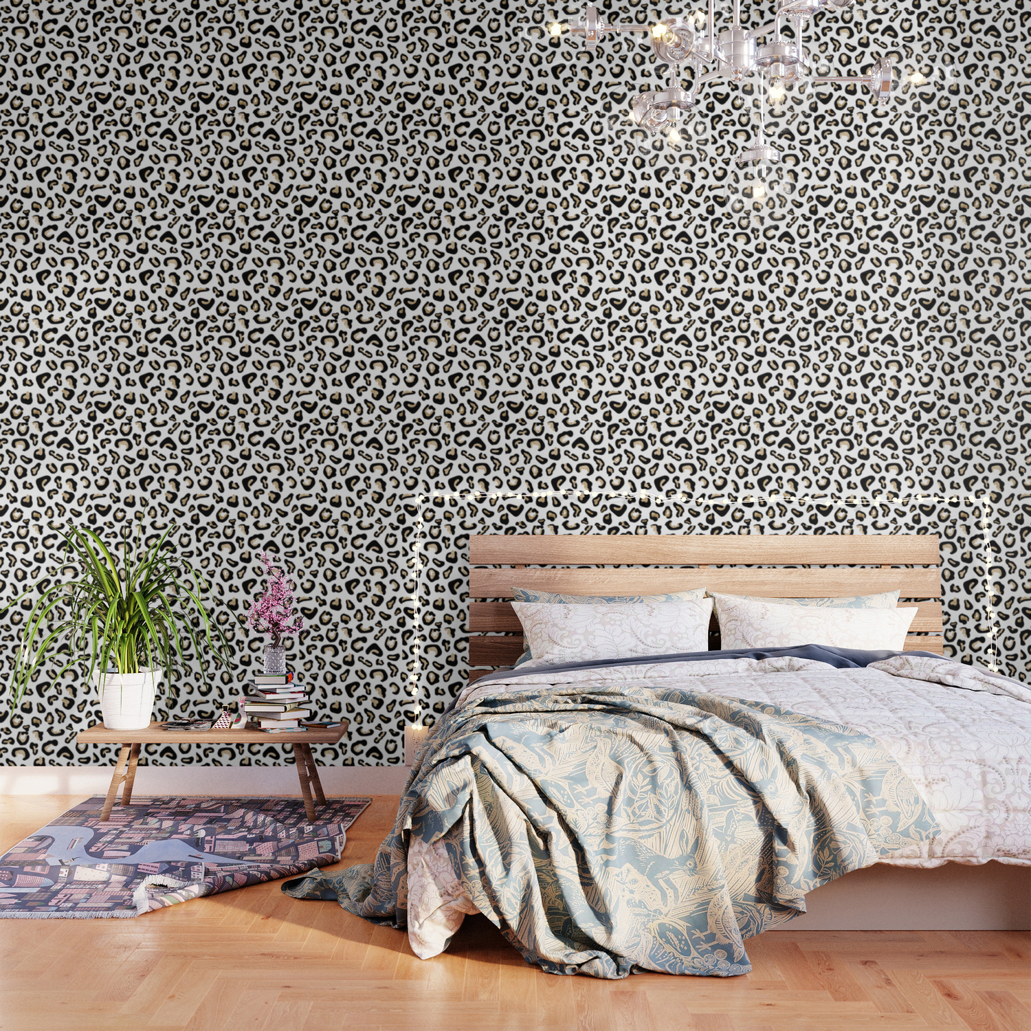 Modern Hipster Black Gold Glitter Animal Print Wallpaper By Pink Water Society6