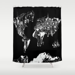Global shower curtains society6 world map black and white shower curtain gumiabroncs Gallery
