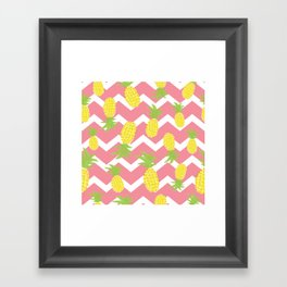 Pink Pineapple Pattern Framed Art Print