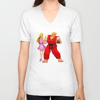 barbie V-neck T-shirts featuring Barbie & Ken. by Sam Pea