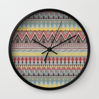 whisky Wall Clocks featuring WHISKY AZTEC  by Kiley Victoria