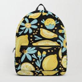 Lemon Pattern Black Backpack