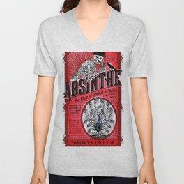 Vintage 1871 Red Absinthe Liquor Skeleton Elixir Aperitif Cocktail Alcohol Advertisement Poster Unisex V-Neck