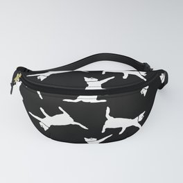 Cats-White on Black Fanny Pack
