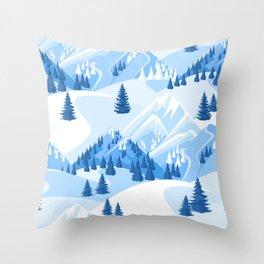 Fresh Snow Mountain Ski Resort Evergreens Throw Pillow