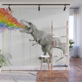 T-Rex Dinosaur Rainbow Puke Taste the Rainbow Watercolor Wall Mural