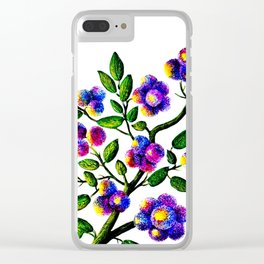 Blue Pink Yelow Flower Branch Clip Art Clear iPhone Case