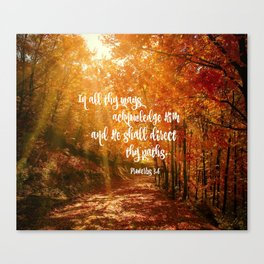 He Will Direct Your Path Bible Verse Canvas Print