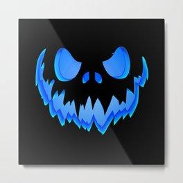 Evil pumpkin blue Metal Print