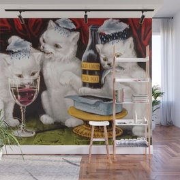 Three Bad Cats ( Tres Gatos Malos) with black clouds that follow them around portrait painting Wall Mural